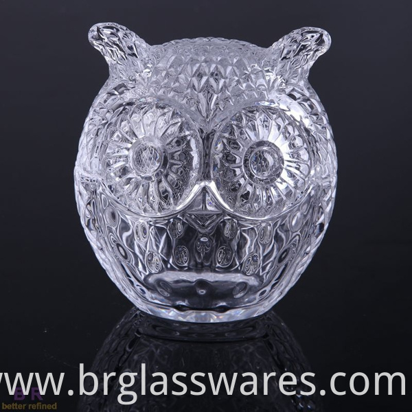 clear color of owl glass candle jar
