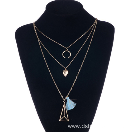 Fashion Charms Multilayer Chain Small Tassel Fringe Necklace
