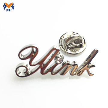 Design your own silver metal letter pin badge