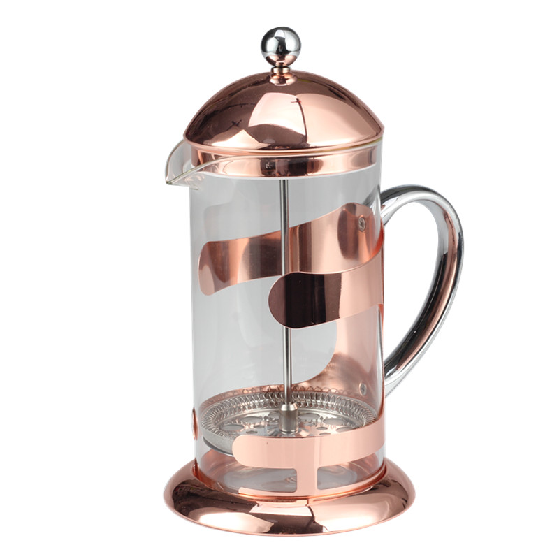 Silver Stainless Steel Handle Of Glass French Press