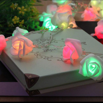 multicolor twinkle led string lights with flower