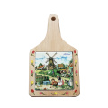 Cheese cutting board Colourful wood ceramic cream
