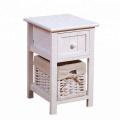 White Wood Shabby Chic Nightstand End Side Bedside Small Table Wicker Storage drawer and basket