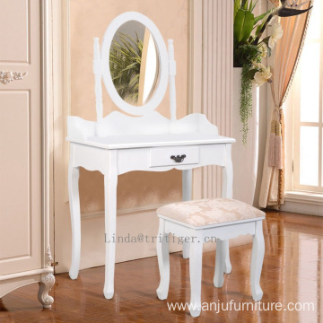 Modern Wood Makeup Dressing Table Stool Set Bedroom with Round Mirror Drawers