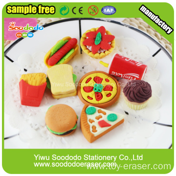3D food shaped TPR Promotion eraser stationery fancy erasers