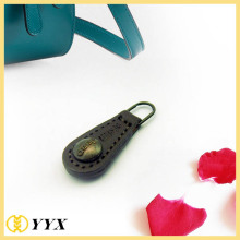 China for Replacement Zipper Tab Customized logo genuine leather zip puller with rivets export to Japan Manufacturer