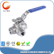 304 three way ball valve T port with mounting Pad