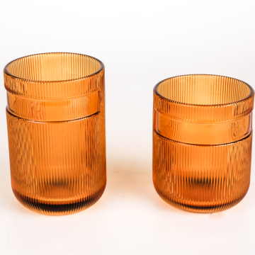 Ribbed amber color high quality glass cup