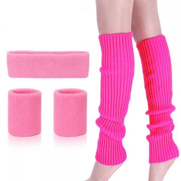 Leg Warmers Set Women 80s Running Headband Wristbands