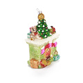 China Factory Fireplace Form Weihnachten geblasenes Glas Ornament besonders angefertigt