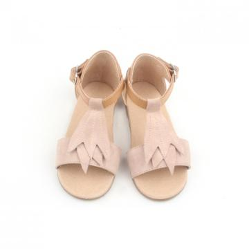 Fancy Design Leaves Leather Kids Sandals