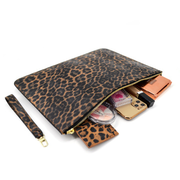100% Real Leopard Leather Envelope Clutch Purse Bag