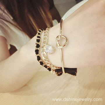 Rhinestone Chain Tassel Bracelet Personalized Gold Bangle