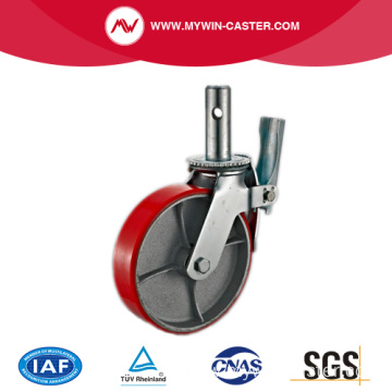 Total Braked Red PU Scaffolding Wheels Caster