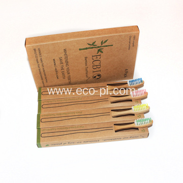 Family 4 Pack Reusable Organic Charcoal Bamboo Toothrbsuh