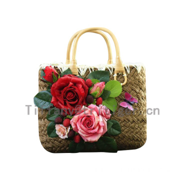 China factory High Quality straw women beach bag with flowers