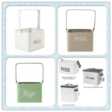 White House & Home Peg Storage Tin