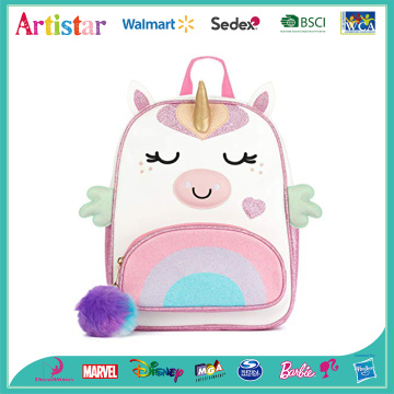 pink unicorn wings modelling backpack