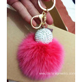 Rhinestone Ball Rabbit Fur Ball Keychain Pom Ball Pendant