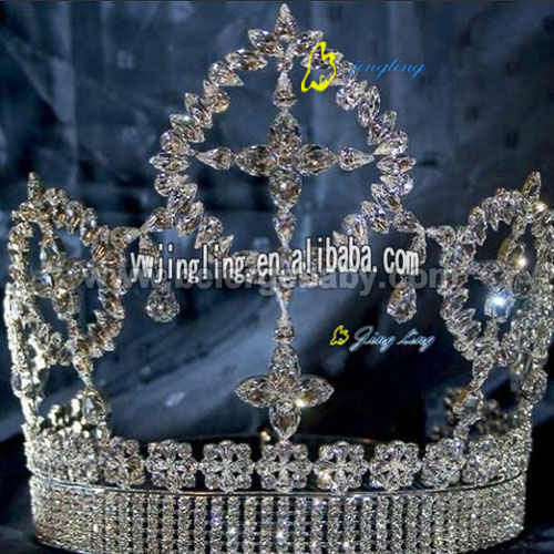 Large full round pageant prize crown tiara FCR-12220