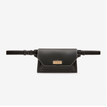 Black Leather Fanny Packs Waist Pouch for Women