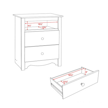 Monterey Bedside Cabinet White 2-Drawer Tall Night Stand with Storage Drawer