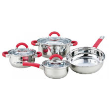 7 Pieces Cookware Set with Handles Stainless Steel