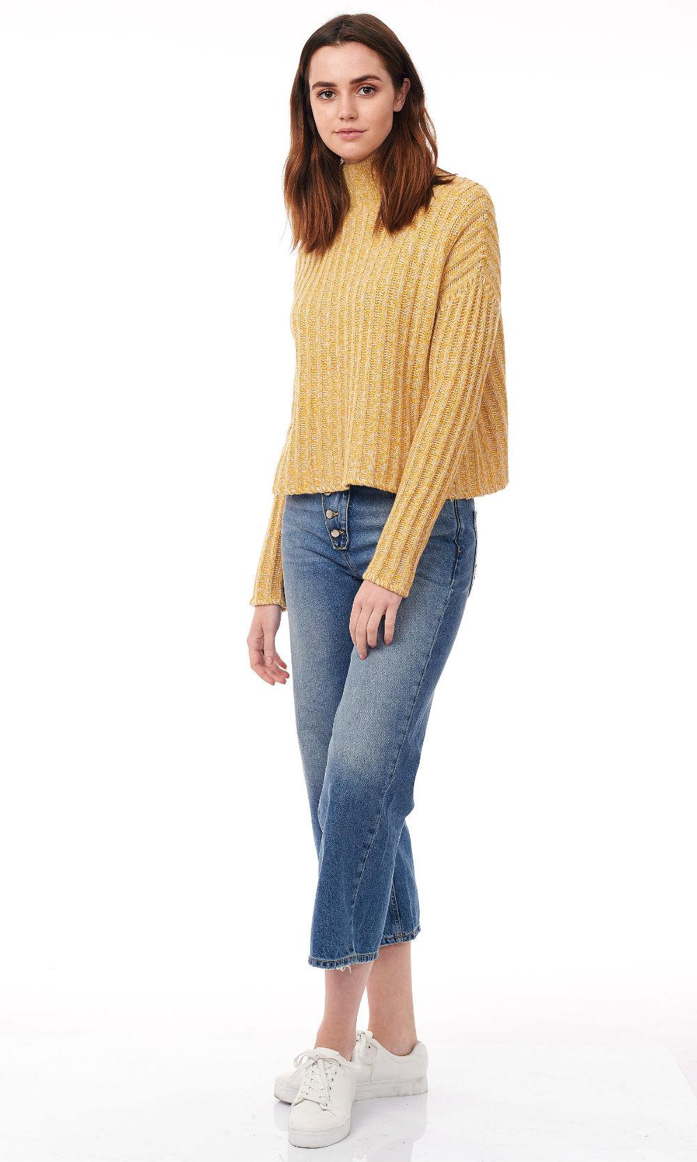 freesia turtle neck wide ribe knitwear side look