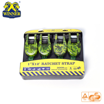 "Best Quality for Cargo Securing Strap, Mini Ratchet Strap, Ratchet Tie Down, Ratchet Belt, Stainless Steel Ratchet Strap 4PC 1""X12"" Camouflage Ratchet Tie Down Cargo Straps export to Honduras Importers"