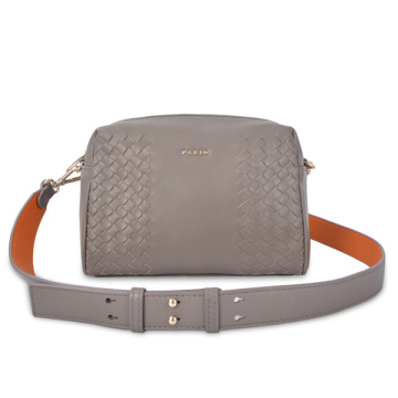 Christopher Kon Medium Weave Leather Crossbody Bag Grey