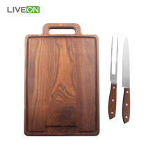 Ash Cutting Board With Knife Set