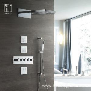 HIDEEP Brass Four Function Shower Faucet Set