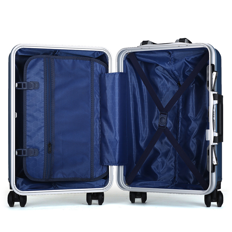 ABS PC aluminum frame blue trolley luggage 6