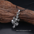 Unique Mens Necklace With Titanium Steel Cross Skull Pendant
