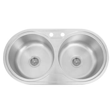 Home Kitchen Stainless Steel Double Sink Round