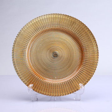 13inch Golden Round Glass Charger Plate