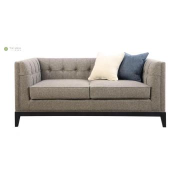 Cloth Art Wood Frame Loveseat With Fabric Cushion