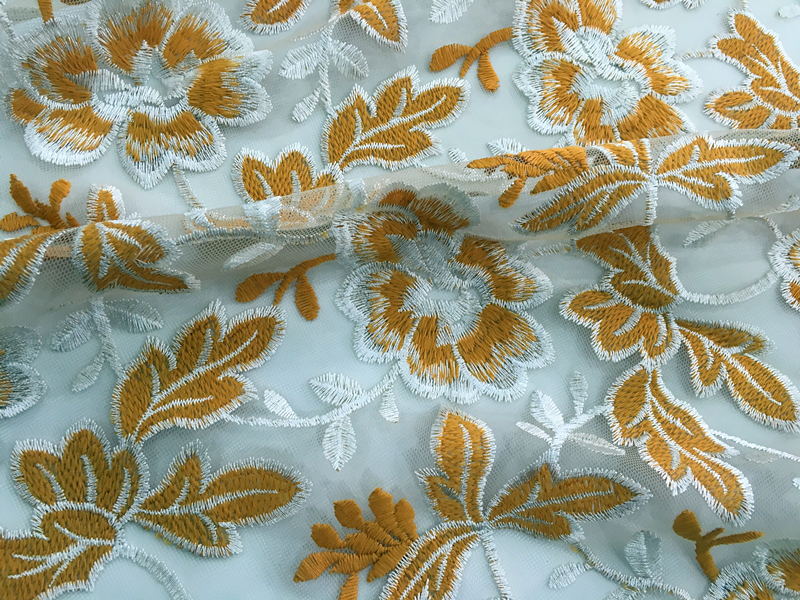 Two Tone Flower Embroidery Fabric