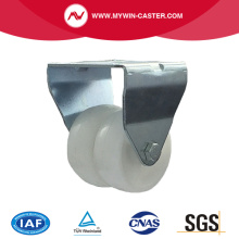 2 inch rigid twin wheel white PP industrial caster
