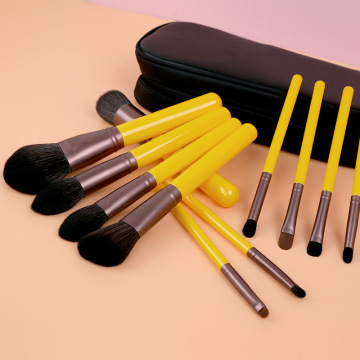 12 piece yellow synthetic cosmetics brush set professional