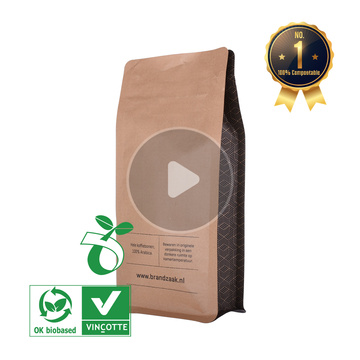 heat sealed 500g kraft paper bags for coffee