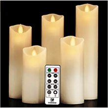 5*5Led White Wedding Wax Scented Pillar Candle