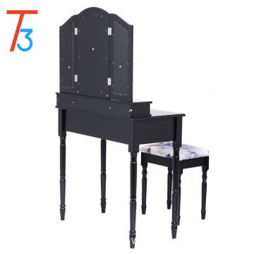 Black Vanity Makeup Table Professional Stool Set Home Drawers