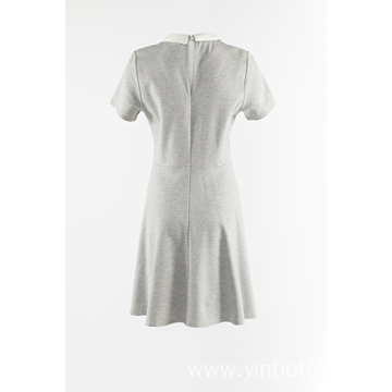 Grey Knitted Dress With Peter Pan Collar