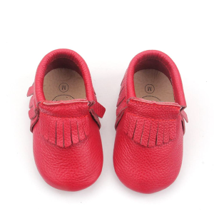 Christmas Red Leather Moccasins Soft Sole Baby Shoes