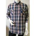 100%COTTON men's yarn dye long sleeve casual shirt