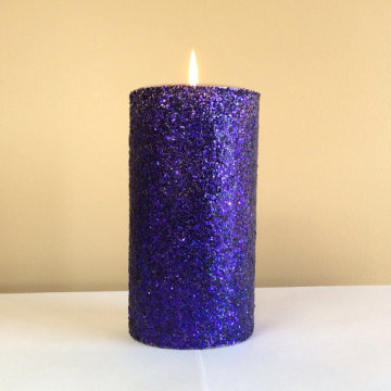 metal paint column wax unscented smoke-free pillar candle