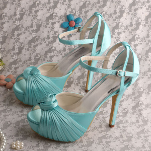 Wholesale Price for Bridesmaid Shoes Mint Green Platform Wedding Sandals Heels export to Poland Wholesale