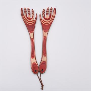 Red wooden salad fork