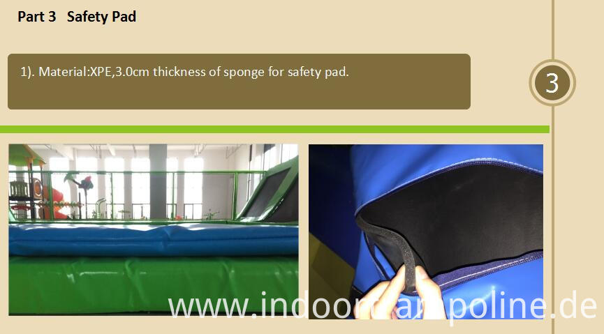 Safety pad of launch trampoline park